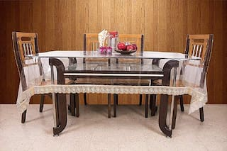 JARS Collections Transparent Dining Table Cover with Golden Lace
