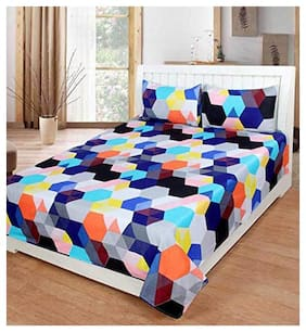 JARS Collections Microfiber Geometric Double Size Bedsheet 120 TC ( 1 Bedsheet With 2 Pillow Covers , Multi )