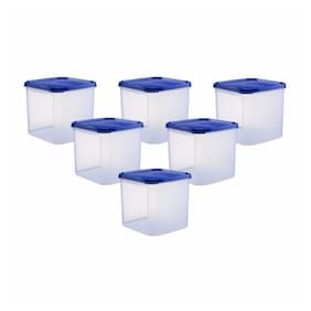 Java 4000 ml Blue Plastic Container Set - Set of 6