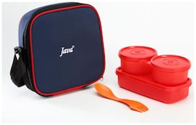 Java 3 Containers Plastic Lunch Box - Red