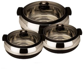 Jaypee Glasserol Set Black;Set of 3 Casserole (800+1200+1700 ml)