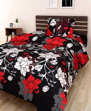 JBG Home Store Microfiber Floral Single Size Bedsheet 120 TC ( 1 Bedsheet With 1 Pillow Covers , Black )