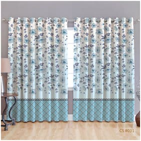 JBG Home Store Polyester Window Room Darkening Blue Regular Curtain ( Eyelet Closure , Floral )