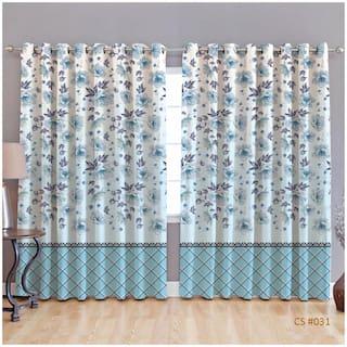 JBG Home Store Polyester Window Room Darkening Blue Regular Curtain ( Eyelet Closure , Floral )