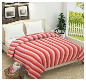 Jbg Home Store Soft And Warm Fleece Striped Double Blanket