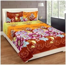 JBG Home Store Microfibre Floral Double Size Bedsheet ( 1 Bedsheet With 2 Pillow Covers , Multi )