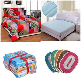 JBG Home Store Combo of Double Bedsheet with 2 Pillow cover;Double Bed Mattress Protector Sheet;12 face Towels and 5 Oval door mats