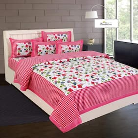 JBG Home Store Cotton Printed Double Size Bedsheet 160 TC ( 1 Bedsheet With 2 Pillow Covers , Multi )