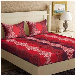 JBG Home Store Microfiber Printed Double Size Bedsheet 120 TC ( 1 Bedsheet With 2 Pillow Covers , Maroon )