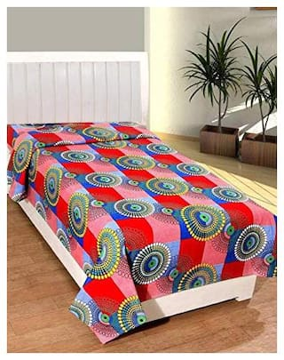 JBG Home Store Microfibre Geometric Single Bedsheet ( 1 Bedsheet Without Pillow Covers , Multi )