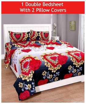 JBG Home Store Microfibre Floral Double Size Bedsheet 160 TC ( 1 Bedsheet With 2 Pillow Covers , Multi )