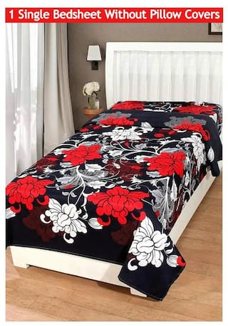 JBG Home Store Polycotton Single Bed Bedsheet without Pillow cover - Multiple size available