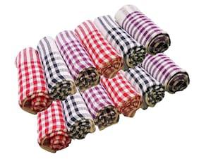 JBG Home Store Set of 12 Checkered Cotton Kitchen Napkins