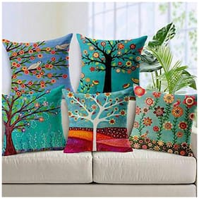 JBG Home Store Set of 5 Jute Digital Print Cushion Covers
