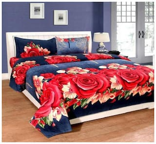 JBG Home Store Microfibre Floral Double Bedsheet ( 1 Bedsheet With 2 Pillow Covers , Blue & Red )