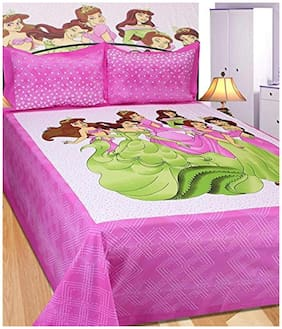 JBG Home Store Cotton Printed King Size Bedsheet 140 TC ( 1 Bedsheet With 2 Pillow Covers , Multi )