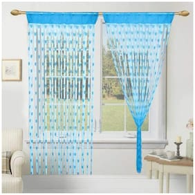 JBG Home Store Polyester Door Transparent Blue String Curtain ( Loop Closure , Printed )