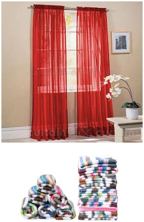 JBG Home Store Combo of 2 Maroon Tissue Door Curtains and 12 Stripes Face Towel