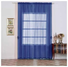 JBG Home Store Tissue Door Transparent Blue Regular Curtain ( Rod Pocket Closure , Plain )
