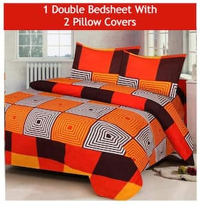 JBG Home Store Microfiber Checkered Double Size Bedsheet 160 TC ( 1 Bedsheet With 2 Pillow Covers , Multi )