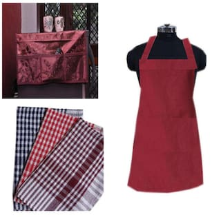 JBG Home Store Combo of Fridge Top Cover, Apron and 3 Kitchen Napkins