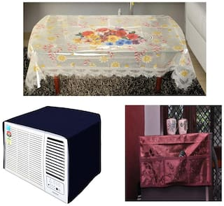 JBG Home Store Super Value combo of Covers ( Set of 3)( AC Cover with fridge top cover & center table cover)