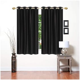 JBG Home Store Polyester Window Blackout Black Regular Curtain ( Eyelet Closure , Solid )