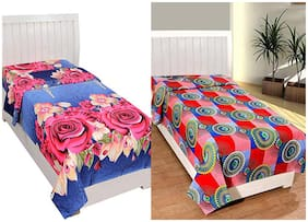 JBG Home Store Poly cotton Floral Single Size Bedsheet Combo ( 2 Bedsheet Without Pillow Covers , Multi )