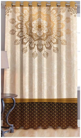 JBG Home Store Polyester Window Room Darkening Brown Regular Curtain ( Eyelet Closure , Printed )