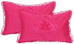 JBG Home Store Cotton Embroidered Pillow Covers ( Pack of 2 , Pink )