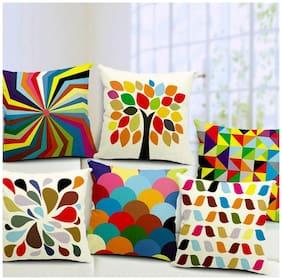 JBG Home Store Set of 5 Jute Digital Print Cushion Covers