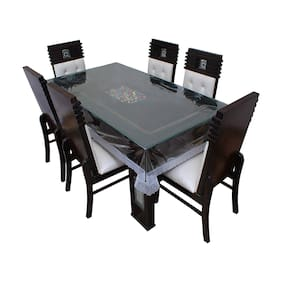 JBG Home Store Transparent Dining Table Cover with Silver Lace(60x90 inches)