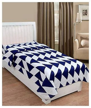 JBG Home Store Microfiber Geometric Single Size Bedsheet 110 TC ( 1 Bedsheet Without Pillow Covers , Blue & White )