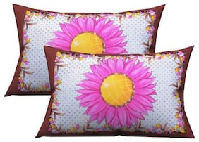 JBG Home Store Cotton Printed Pillow Covers ( Pack of 2 , Maroon )