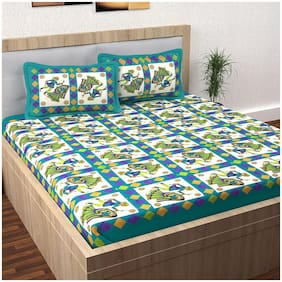 JBG Home Store Cotton Rajasthani Jaipuri Print Double Size Bedsheet 140 TC ( 1 Bedsheet With 2 Pillow Covers , Green )