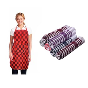 JBG Home Store Non Woven Multi Aprons Gloves & Set ( Set Of 7 )