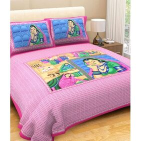 JBG Home Store 210 TC Jaipuri Double Bedsheet with 2 Pillow Covers
