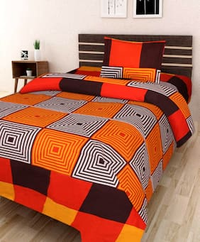 JBG Home Store Microfiber Checkered Single Size Bedsheet 120 TC ( 1 Bedsheet With 1 Pillow Covers , Orange )