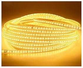 Mufasa Yellow LED Strip Rope Light Waterproof Roll 10 m (120 led/Mtr) with Adapter