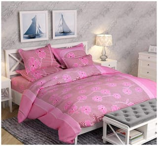 JARS Collections Cotton Floral Double Size Bedsheet 110 TC ( 1 Bedsheet With 2 Pillow Covers , Pink )