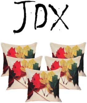 JDX Floral Satin Beige Cushion Cover ( Regular , Pack of 5 )