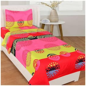 JEBY Polycotton Single Bedsheet With 1 Pillow Cover