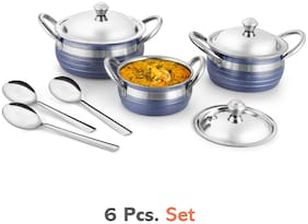 Jensons Blue Texture 3 Handi with lid + 3 Serving Spoon;Spoon Serving Set