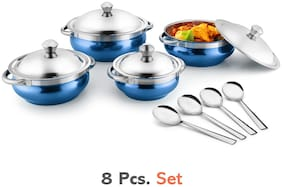 Jensons Blue 4 Handi with lid + 4 Serving Spoon;Spoon Serving Set