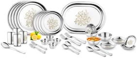 Jensons Daisy 42 Pcs Heavy Stainless Steel Dinner Set Pack of 42 Dinner Set  (Stainless Steel)