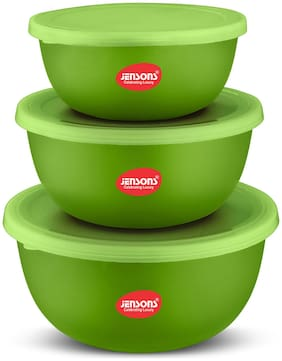 Jensons Flora Stainless Steel Microwave Safe 3 pcs. Bowl Set with Lid-Green (2700 ml)