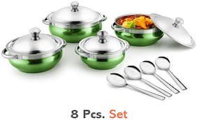 Jensons Green 4 Handi with lid + 4 Serving Spoon;Spoon Serving Set