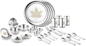 Jensons Maple Leaf 32 Pcs Heavy Stainless Steel Dinner Set Pack of 32 Dinner Set  (Stainless Steel)