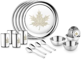 JENSONS Stainless steel Dinner Sets - Set of 16 , Silver