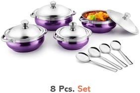 Jensons Purple 4 Handi with lid + 4 Serving Spoon;Spoon Serving Set